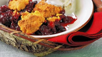 Cranberry cobbler with cornmeal topping Cranberry cobbler with cornmeal topping.
