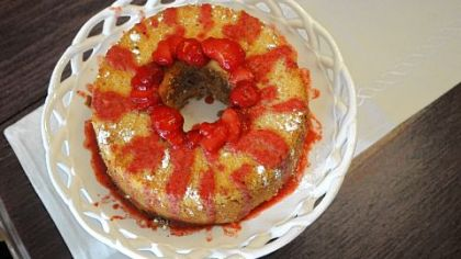 Cream Cheese Pound Cake Cream Cheese Pound Cake can be garnished with strawberries.