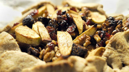 Crostata with apples, figs, cranberries and walnuts Crostata with apples, figs, cranberries and walnuts prepared by Father Sam Esposito.