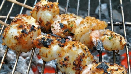 Crusty Shrimp and Scallop Skewer Crusty Shrimp and Scallop Skewer.