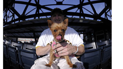 Dan Honan and Isabella Dan Honan and his yorkshire terrier, Isabella, enjoy the Pirates game Tuesday at PNC Park.