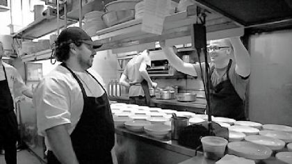 David Santos and Justin Severino David Santos, left, hosted Justin Severino, chef of Cure in Lawrenceville, at Louro, Mr. Santos' restaurant in Manhattan. A collaborative dinner featured Mr. Severino giving a butchering demonstration followed by a multi-course menu of items from Mr. Severino's restaurant.
