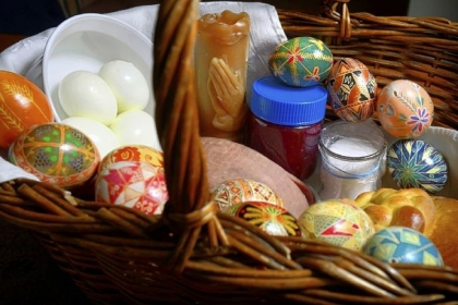 Easter basket On Saturday, this Easter basket full of food and decorative eggs will be taken to Saints Peter and Paul Ukrainian Church in Ambridge to be blessed.