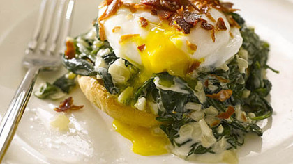 Eggs Florentine Eggs Florentine, as prepared by Italian cooking goddess/TV star Giada De Laurentiis.