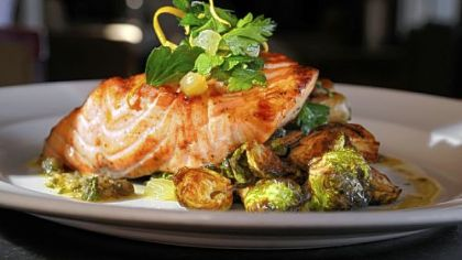 Eleven On the menu at Eleven: Scottish salmon, with fingerling potatoes, black pepper bacon, brussels sprouts and caper vinaigrette.