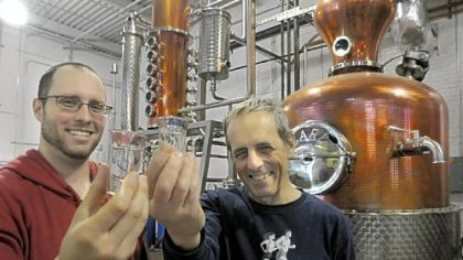 Eric Meyer and his father Mark Eric Meyer, left, and his father, Mark, at their Wigle Whiskey distillery on Smallman Street in Pittsburgh's Strip District.