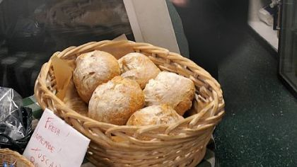 Fresh Tuscan bread Fresh Tuscan bread waits for customers at Groceria Italiana in Bloomfield.