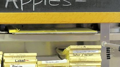 Frick Park Market specials and tabs The market uses ledgers to keep track of customers tabs, which are paid monthly. Steeler Cheese is a creation of co-owner John Prodan's mother.