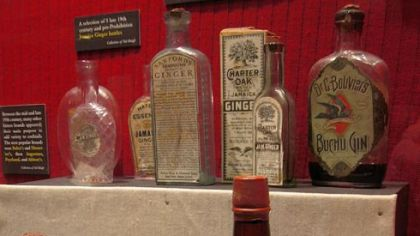 Gin Bottles. Collection of gin bottles at The Museum of the American Coctail.