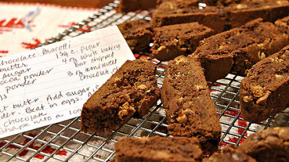 Helen's Double Chocolate Biscotti with recipe Helen's Double Chocolate Biscotti