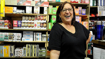 Judy Falcon at Fort Pitt Candy Judy Falcon, manager at the Fort Pitt Candy Company in the Strip.