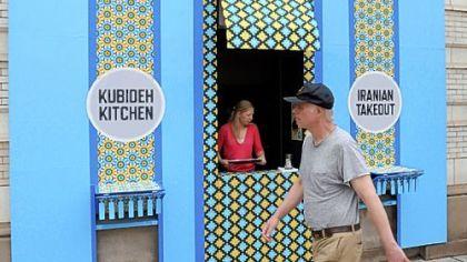 Kubideh Kitchen Dawn Weleski and the Kitchen from outside.