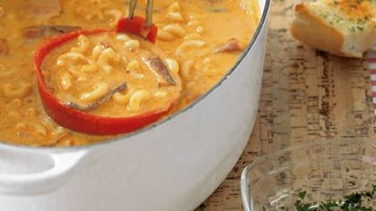 "Macaroni and Cheese Soup Macaroni and Cheese Soup from ""The NFL Gameday Cookbook."""