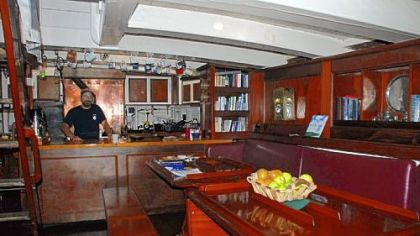 Main salon and galley of the Pride II Main salon and galley of the Pride II