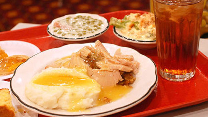 Mehlman's Cafeteria The cafeteria tray at Mehlman's Cafeteria in St. Clairsville, Ohio, included housemade whipped potatoes with gravy, turkey with dressing, broccoli casserole, creamed peas, corn bread, peach pie and iced tea.