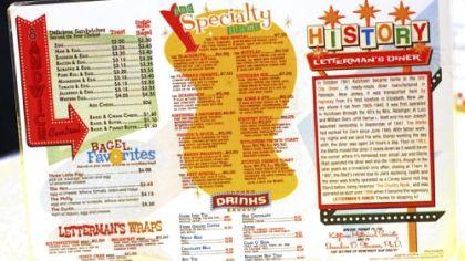 Menu One side of the Letterman's Diner breakfast menu in Kutztown.