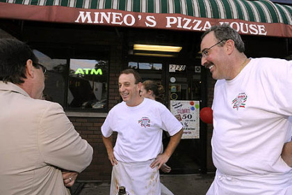 Mineo's Pizza House Mineo's Pizza House owners Jon, center, and Dominic Mineo, in a 2008 PG photo.