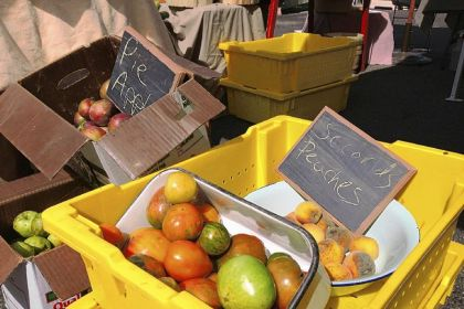 "Mott Family Farm 'seconds' Apple and peach ""seconds,"" below, for sale by Mott Family Farm at the Lawrenceville Farmers Market."