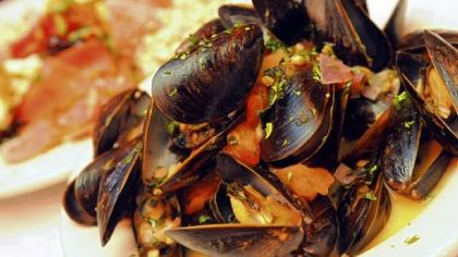 Mussels During Lent, Pizzutti's offers all-you-can-eat mussels, served above in a sauce made with tomatoes and white wine.