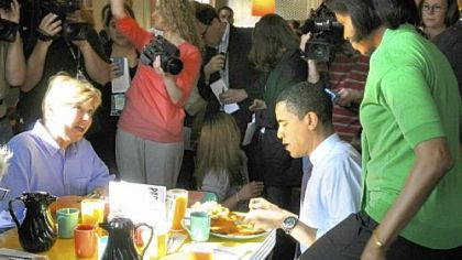 Obama's pancake breakfast Then-Sen. Barack Obama and his wife, Michelle, shared a breakfast of pancakes at Pamela's Diner in the Strip District in April with co-owner Gail Klingensmith, left.