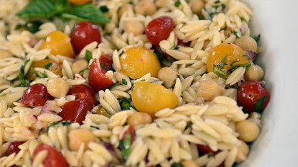 Orzo Salad with Grape Tomatoes Orzo Salad with Grape Tomatoes.
