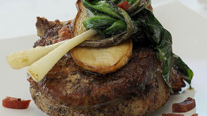"""Pan-roasted Strauss veal chop Pan-roasted Strauss veal chop with trumpet mushrooms, wild ramps and tarragon mustard from Isabela on Grandview, where Chef Dan Liephart says """"we honestly don't hear much grief from customers about veal anymore."""""""