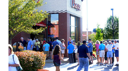 Patrons swarm Chick-fil-A Patrons swarm Chick-fil-A at dinnertime Wednesday along Route 228 in Cranberry.