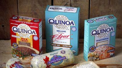 Quinoa products Quinoa products include quinoa polenta, quinoa Inca Red (background, left and front, center), quinoa flour (center, background), and quinoa traditional (right, background and right front).