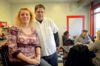 Rachel and Kevin Wisniewski Rachel and Kevin Wisniewski in their new Chev & Rachel's Family Diner in Emsworth.