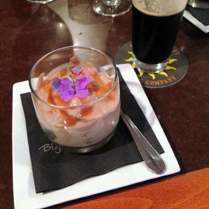 Restaurant Scene A trifle paired with Anderson Valley oatmeal stout at Bigelow Grille.