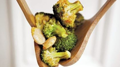Roasted broccoli with smoked paprika vinaigrette and marcona almonds Roasted broccoli with smoked paprika vinaigrette and marcona almonds.