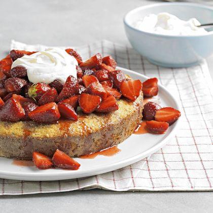 Rosemary Almond Cake Rosemary Almond Cake with Strawberries and Mascarpone.