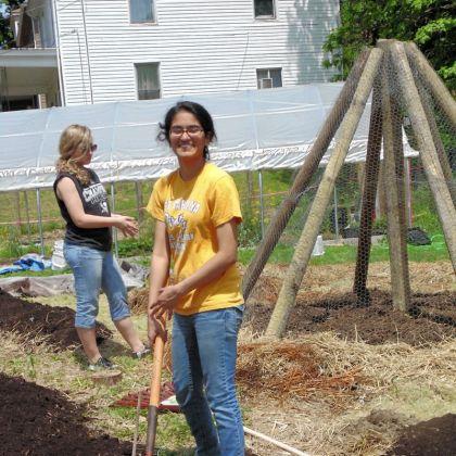 Sneha Srinivasan Sneha Srinivasan during the early spade work for her Gold Award project.