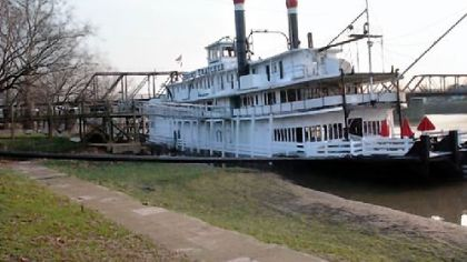 The Becky Thatcher A photo of The Becky Thatcher, a 220-foot-long riverboat and a National Historic Landmark. The new owner, Jeff Levin, plans to have the boat towed from Marietta, Ohio, to Neville Island in Pittsburgh.