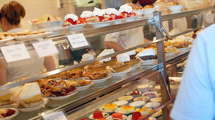 The cafeteria line at Mehlman's The cafeteria line at Mehlman's starts with pies, cakes, fresh salads and gelled salads.