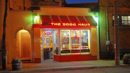 The Dogg Haus The warm glow of the The Dogg Haus was a lovely sight.