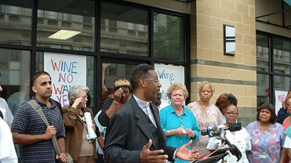 The Rev. Jesse Brown speaks In 2004, the Rev. Jesse Brown speaks at a community march where neighbors protested the opening of a state liquor store in their north Philadelphia neighborhood. The store opened on a block with two churches, one of which has a day-care center.