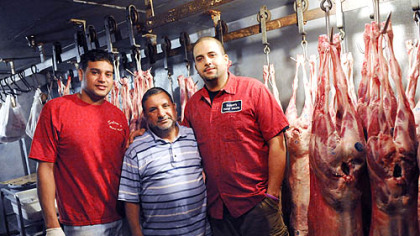 The Salem family at their meat business Massaud Salem is flanked by sons Ebraheim and Abdullah at his family's business, Salem's Halal Meats & Groceries, in Oakland.