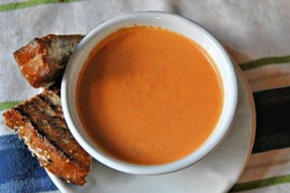 Tomato-Sriracha Soup Tomato-Sriracha Soup paired with a Spicy, Crunchy, Sweet Goat Cheese Melt.