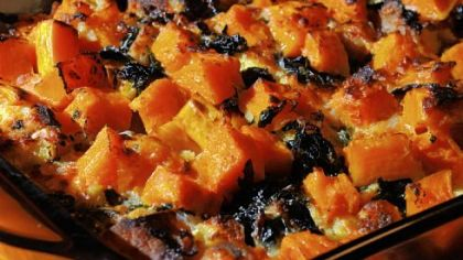 Vegetarian Squash and Bread Pudding Vegetarian Squash and Bread Pudding.