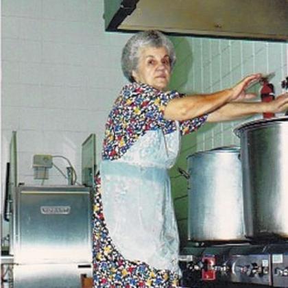 Violet Jokola St. Nicholas Serbian Church member, Violet Jokola, making soup.