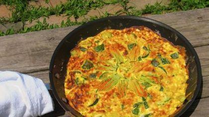 Zucchini and squash blossom fritatta Zucchini and squash blossom fritatta.