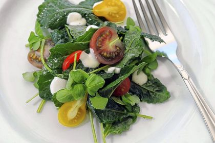 Baby kale salad Baby kale salad with mini heirloom tomatoes, Riverview ...