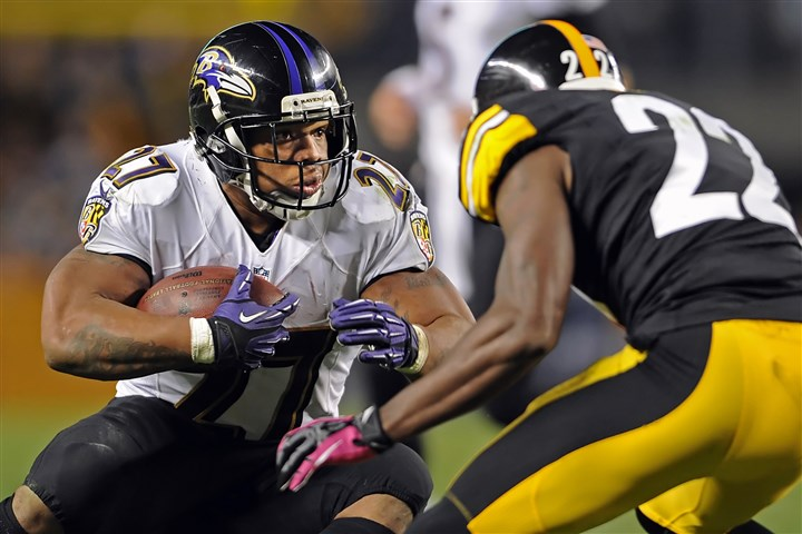 williamgay1026 Ravens running back Ray Rice looks for running room against Steelers cornerback William Gay in the fourth quarter last Sunday.
