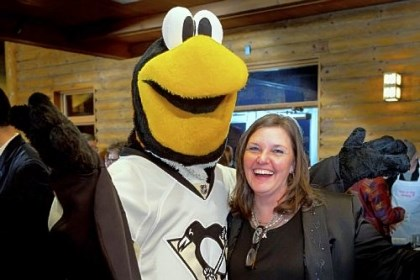 Bonny Diver with Ice Burgh Hair Peace Charities founder Bonny Diver with Penguins' mascot Ice Burgh at a fundraiser earlier this year.