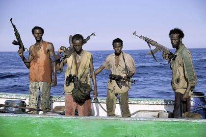 "'Captain Phillips' Faysal Ahmed, Barkhad Abdi, Barkhad Abdirahman, and Mahat M. Ali portray the young Somali hijackers in ""Captain Phillips."""