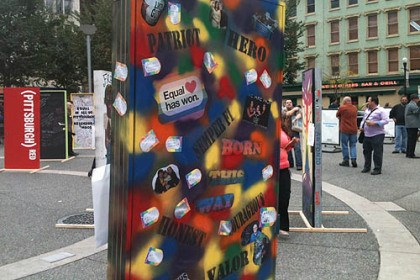 Doors1 Decorated doors in support of National Coming Out Day set up by the Delta Foundation will stay standing in Market Square, Downtown, until 8 tonight.