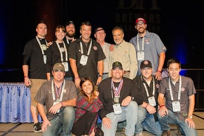 Fat Head's crew The contingent from Fat Head's Brewery pose with Mr. Papazian and that brewery's three medals.