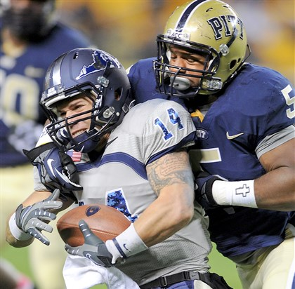 price Pitt's Ejuan Price takes down Old Dominion quarterback Taylor Heinicke in the fourth quarter as the Monarchs tried to rally.