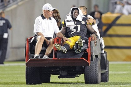 Sean Spence Steelers linebacker Sean Spence is carted off the field after being injured a 2012 preseason game.